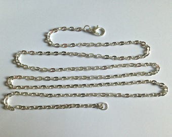 Wholesale silver chain link 72 cm with clasp.