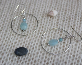 Earrings in Silver 925/1000 and aquamarine