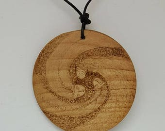 3 goddess wooden pendant - pyrography - woodburning - all natural - jewelry - necklace - wood - nature