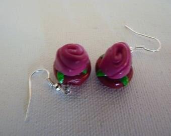 Fuscia pink earrings
