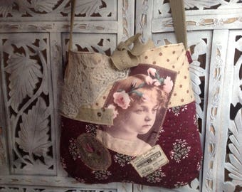 Floral fabric bag and its romantic transfer girl has the Crown