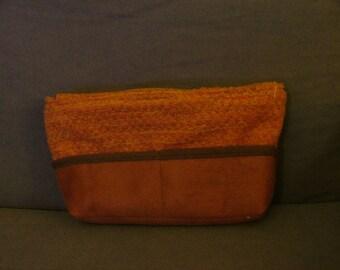 Organizer of orange leather bag Brown