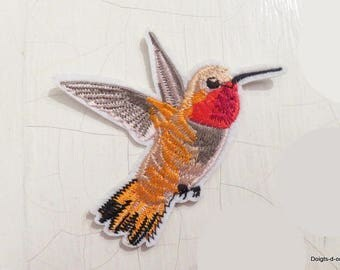 Bird, fusible fabric appliques iron-on or sew badges