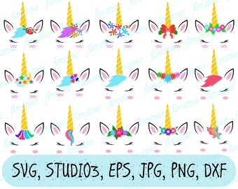Unicorn svg Unicorn svg file unicorn svg circut Unicorn face svg commercial Unicorn horn clipart eyelash unicorn head shirt iron on transfer