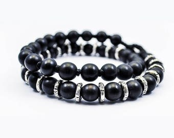 Double Wrapped Bracelet Black Onyx And 925 Silver Disk