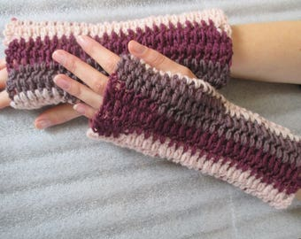 fingerless gloves long woman pure wool purple pink mothers day gift