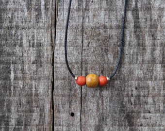 Orange and Gold Natural Toned Choker Necklace