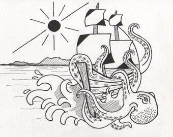 "Postcard, Felt Pen Illustration, Wall Decoration, Circle Design ""Kraken"""