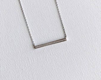 Silver Crystal Bar Dainty Necklace