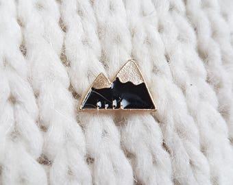 Enamel pin, badge, button, black mountain