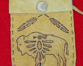 Native American Buckskin Leather Medicine Bag W/ Burned Buffalo, Thunderbird, Feathers