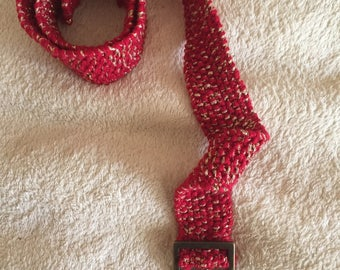 Red and gold wool belt