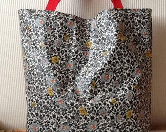 Large cotton tote bag coated grey afleurs