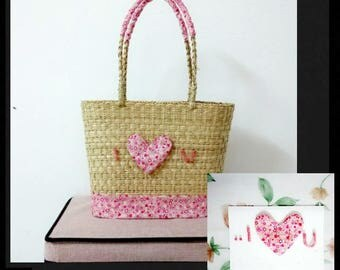 Rattan Bags with handmade card/Eco handbag with handmade card