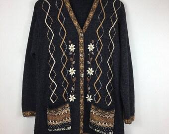 Vintage Cardigan Size Medium,80s Cardigan, 90s Cardigan,Retro Cardigan,Vintage Knitwear,Floral Cardigan,Boho Cardigan,Tapestry Cardigan