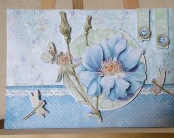 Blue butterfly flower white