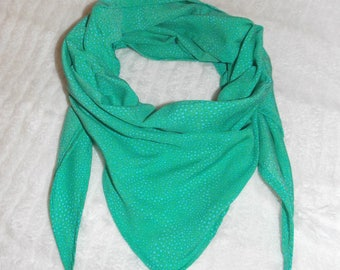 Emerald Green scarf / turquoise polka dots made in france