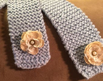 Hand knit Wool Scarf with Cream Flowers