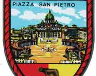 Vintage Style  Roma Italy Piazza San Pietro  Travel Decal sticker