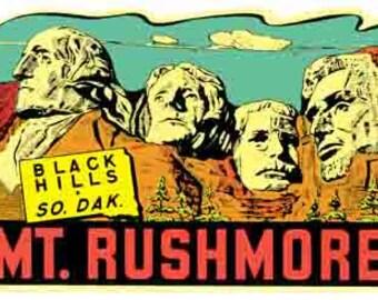 Vintage Style Mount Rushmore Black Hills  SD Monument   South Dakota Travel Decal sticker