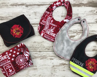 Personalized Firefighter Baby Gift Set / Firefighter Baby / Baby / Baby Bib / Burp Cloth / Baby Shower