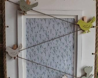"Decorative door frame card ""White"" Spring""/ Ornamental frame carries card""White spring"""