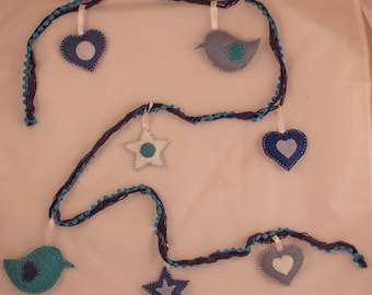 Blue Garland of felt and wool - hearts, stars and birds