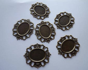 Support for cabochons in bronze metal (x 2)