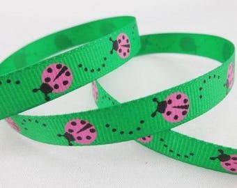 Green Ribbon Apple pattern ladybugs (x 1 meter)