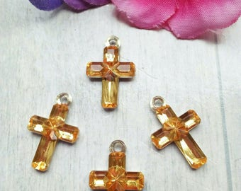 SET OF 4 ACRYLIC CHAMPAGNE RHINESTONE CROSS CHARM / GOLD