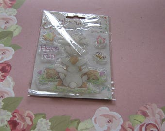 Trimcraft, Neighbourwood furry friends, Rabbits, 5 Clear Cling stamps