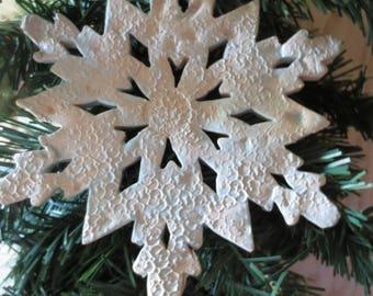 Large ceramic snowflake ornament