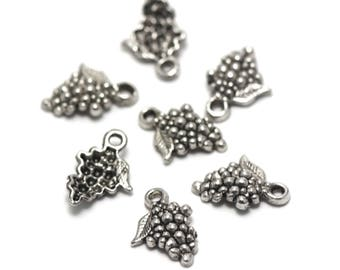 "10 charms ""bunch of grapes"", 18 x 13 x 3, 5 mm, silver, 003 has"
