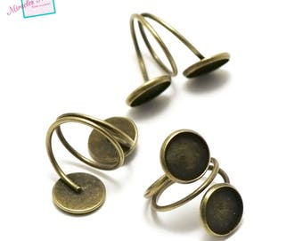 4 rings support double cabochon 12 mm round, bronze