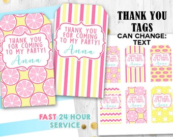 Pink Lemonade tags Thank you tags Lemon tags Gift tags Lemonade birthday tags