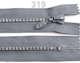 RHINESTONE closure gray non-detachable 18 cm