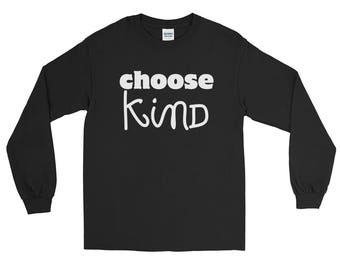 Choose Kind Wonder RJ Palacio anti bullying kindness positive message, acceptance, perserverance, school education  Long Sleeve T-Shirt