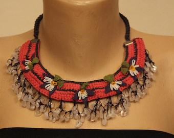 Crochet necklace, needle lace necklace, needle lace, necklace lace, necklace, flower necklace, handmade necklace lace, oya necklace