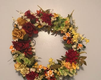 Homemade Silk Flower Grapevine Wreath
