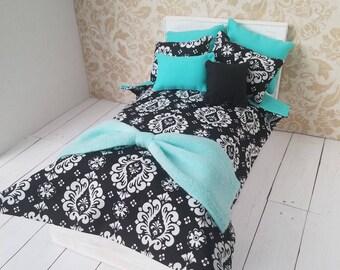 Black Damask Fashion Doll Bedding Set