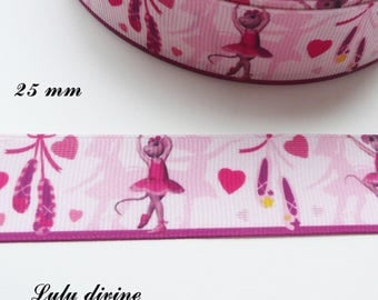 Ribbon pink grosgrain mouse ballerina with 25 mm sold by 50 cm