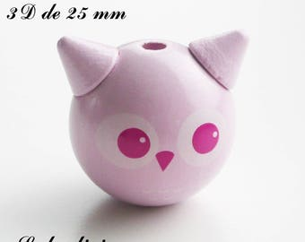 25 mm wooden bead, Pearl 3D head of OWL / owl: light pink