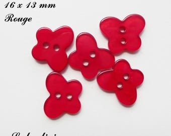 Set of 5 Butterfly buttons 2 holes for 16 x 13 mm smooth: Red