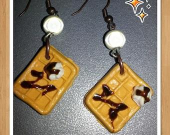 Fimo whipped cream and chocolate waffle earrings
