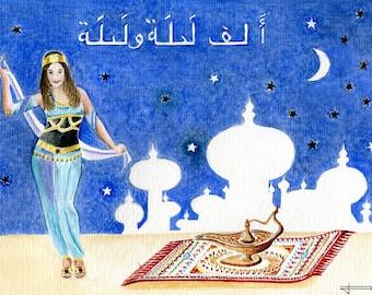 REPRODUCTION of my unique and original watercolor: Arabian nights