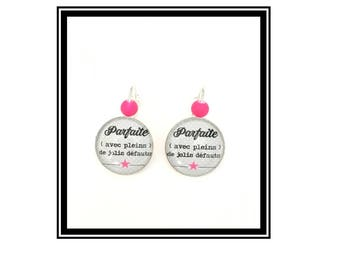 """Original earrings & single """"perfect...  """"Personalized, derision, heart, bow, gray, pink, Star, humor"""""""