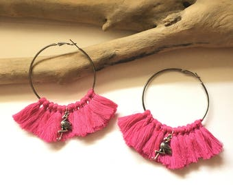 Elegant hoops & pink tassels! Large earrings, tassel pom pom pom pom earrings fancy Bohemian style
