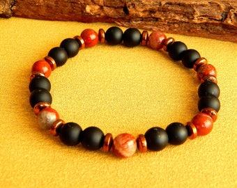 Mens natural stone bracelet ethnic style