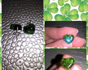 Translucent Green resin heart shape earrings