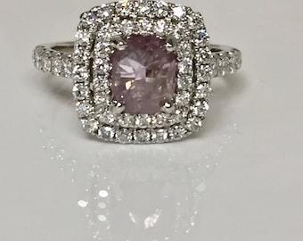 1.80 cttw Fancy pink diamond ring, fancy purple diamond, gia certified, natural fancy pink-purple diamond, cushion cut, 18k white gold